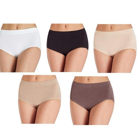 New Women/'s Carole Hochman Seamless Silky Soft Briefs 5 Pk Assorted Colors XL